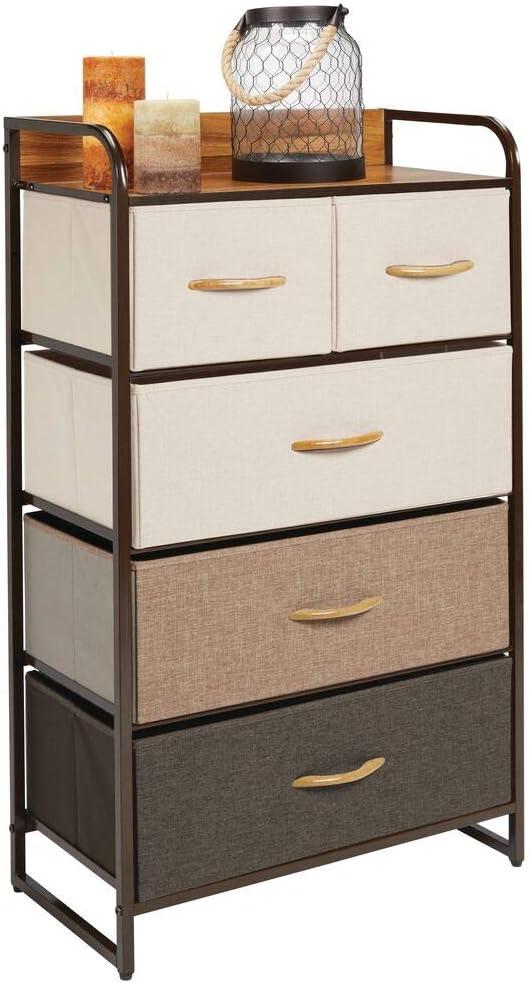 Mueble con cajones alto para el sal/ón la habitaci/ón o el pasillo Cajonera de metal gris MDF y tela para guardar ropa mDesign C/ómoda para dormitorio con 5 cajones