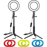 Neewer 2 Packs 6-inch LED Ring Light with Tripod Stand Adjustable & Color Filters: Dimmable 5600K Light Ring for…