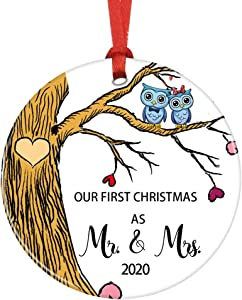 VVFOR First Christmas as Mr and Mrs Ceramic Christmas Ornaments Love Owl Couple in Tree Orinament Decoration Ornament Wedding Keepsake (White Yellow)