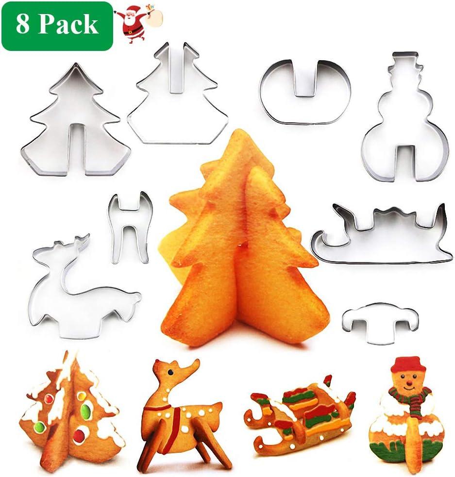 Tema de Navidad Moldes para Fondant Chocolate Reposter/ía Xmas O-Kinee Navidad Moldes para Galletas de Acero Inoxidable