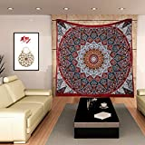 Apoorva's Psychedelic Mandala Tapestries Hippie Droplet Style Wall Hanging Indian Throw Picnic Beach Sheet Traditional Boho Tapestry Inclusive of beautiful Star mandala design Brass Earring Set...