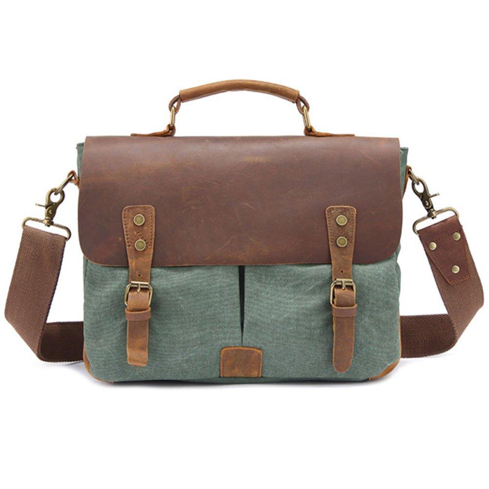 DNSJB Men Womens Crazy Horse Leather Canvas Messenger Shoulder Satchel Crossbody Tote Bag 12 Inch Laptop Briefcase Handbag (Color : A)