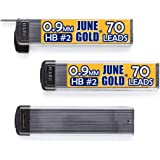 June Gold 210 Pieces, 0.9 mm HB #2 Lead Refills, 70 Pieces Per Tube, Bold Thickness, Break Resistant Lead/Graphite (Pack of 3 Dispensers)