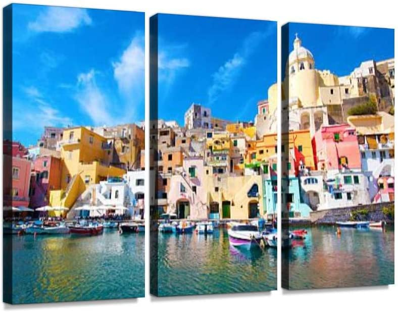 Amazon Com Yking1 Procida Colorful Island In The Mediterranean Sea Coast Naples Italy Wall Art Painting Pictures Print On Canvas Stretched Framed Artworks Modern Hanging Posters Home Decor 3panel Posters Prints