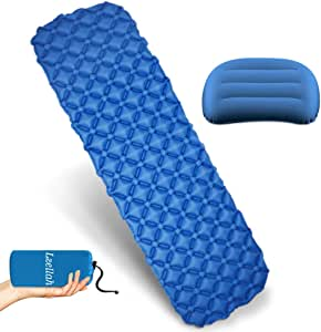 Camping Sleeping Pad - Ultralight Inflatable Camping Mat & Travel Pillow for Backpacking, Traveling and Hiking Outdoor Air Mattress - Light and Compact