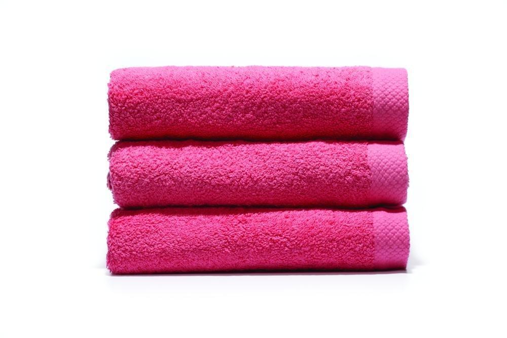Home Basic - Juego de 3 toallas para tocador, 33 x 50 cm, lavabo, 50 x 100 cm y ducha, 70 x 140 cm, color fresa: Amazon.es: Hogar