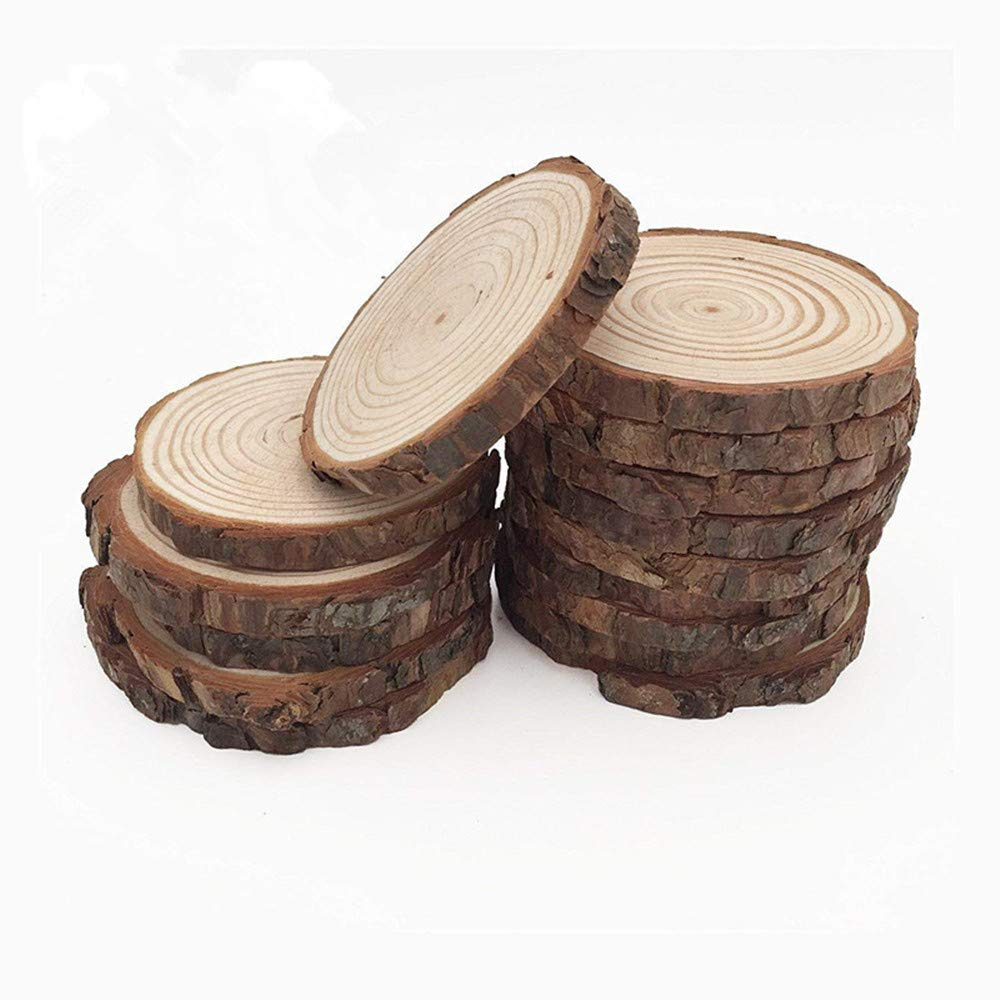 MUPIANLX 15pcs 3.5''-4'' Natural Wood Slices with Tree Bark Unfinished Round Wooden Discs for Crafts Coasters DIY Ornaments