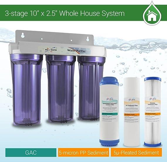 Filtro de agua para toda la casa, 6,35 x 25,4 cm, sistema de ...