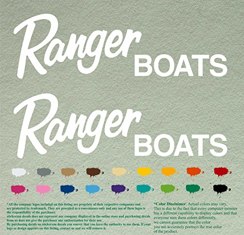 "Pair of Ranger Boats Outboards Decals Vinyl Stickers Boat Outboard Motor Lot of 2 (12"", White 010)"