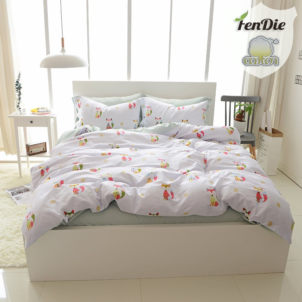 FenDie Twin Kids Cotton White Duvet Cover Set for Boys Girls, 3 Piece Fox Printed Bed Duvet Cover with Corner Ties, Comfortable and Portable