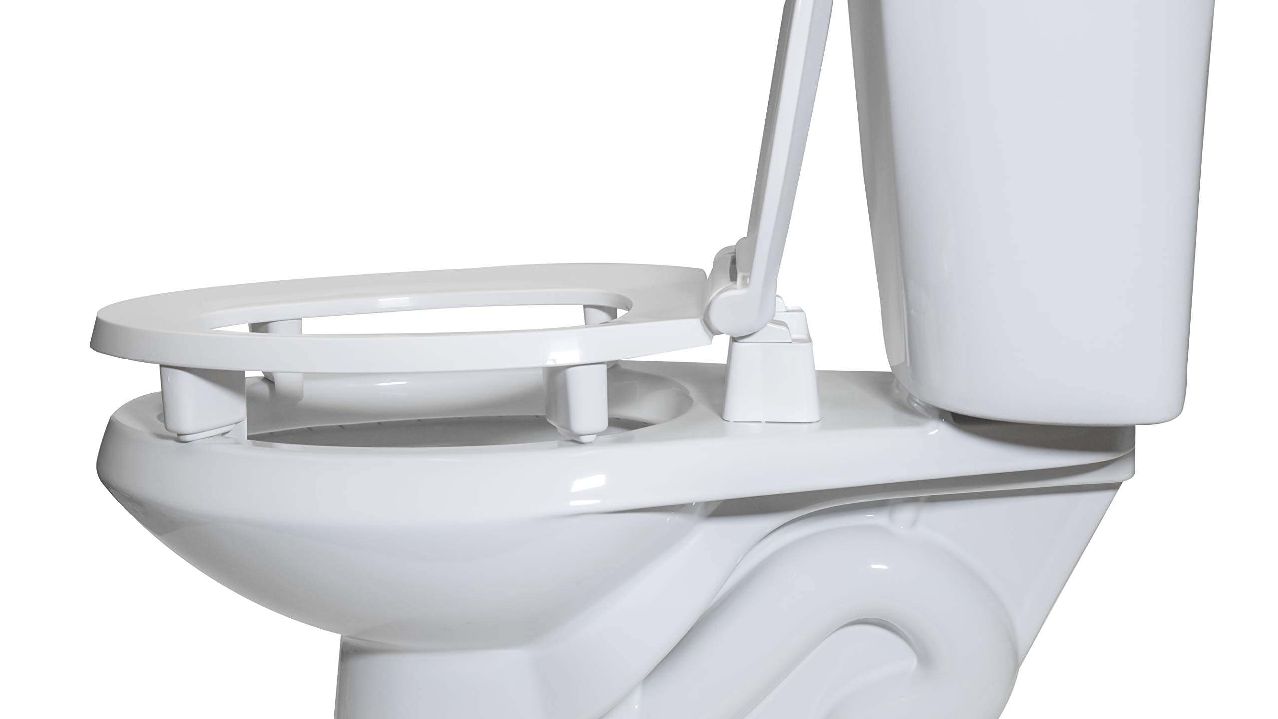 Centoco 3L800STS-001 Elongated 3'' Lift, Raised Plastic Toilet Seat, Closed Front with Cover, ADA Compliant Handicap Medical Assistance Seat, White by Centoco (Image #2)
