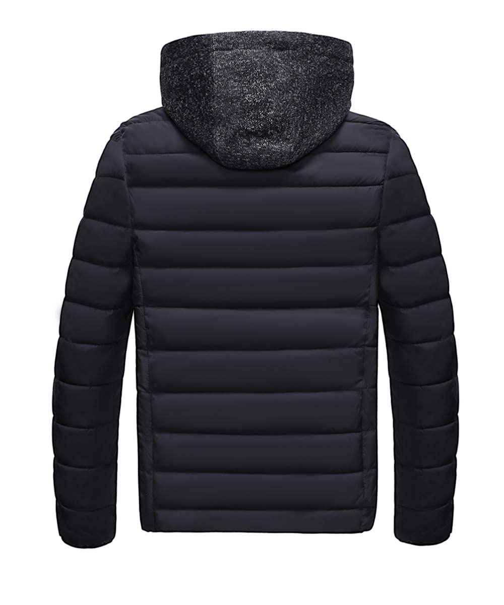 Mens Lightweight Winter Puffer Down Coats Jacket with Hood Need to Plus one Size