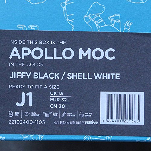 Native Kids Apollo Moc Junior Slip On (Big Kid), Black/White, 3 M (3 Moc)