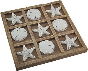 Zeckos Starfish and Sand Dollar 9 inch Tic Tac Toe Game Board
