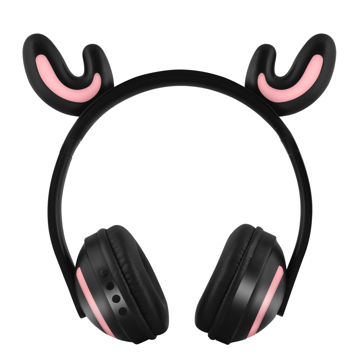 JFtown Wireless Bluetooth LED Headphones 7 Colors Lights Deer Horn Animal Cosplay Over Ear Stereo Bluetooth Headset with Microphone for Kids Girl Boy Compatible with PC/iPhone/iPad