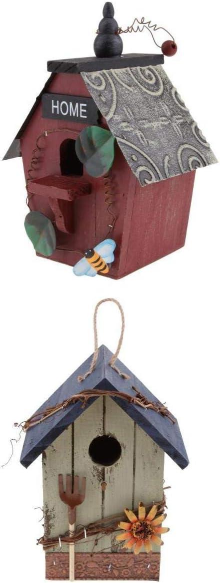 LOVIVER Nido de Pájaro Casa de Madera Natural con Cable de Yute Bien Sujeto DIY Creativo Montado en Pared Loro Jardín Decoración - 2* Madera + Hoja de Hierro
