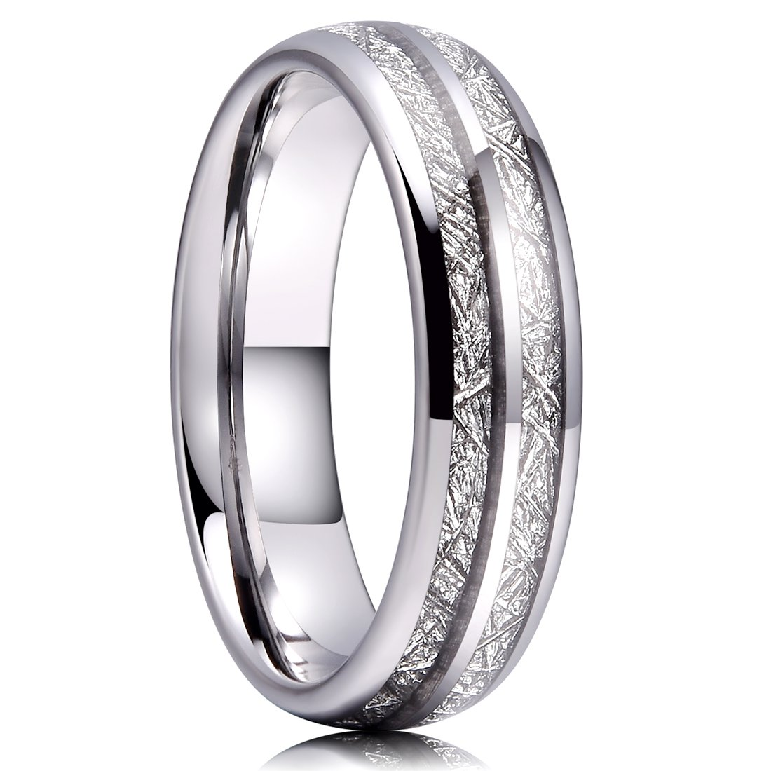 Three Keys Jewelry 6mm Imitated Meteorite Tungsten Wedding Ring Domed Viking Wedding Band Engagement Ring CR001-VARIATION