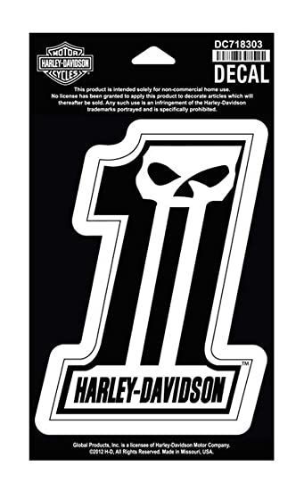 Amazon.com: Harley-Davidson #1 Skull Medium Decal, 4'' W x 5-1/2''