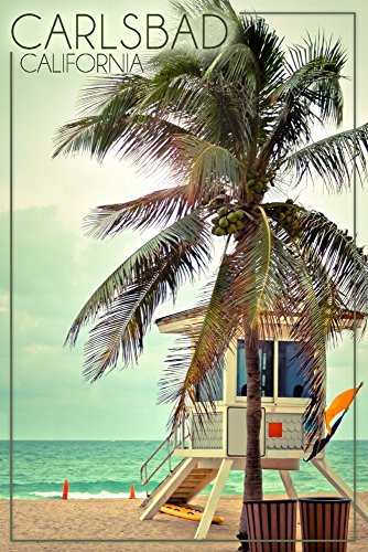Carlsbad, California - Lifeguard Shack and Palm (36x54 Giclee Gallery Print, Wall Decor Travel Poster)