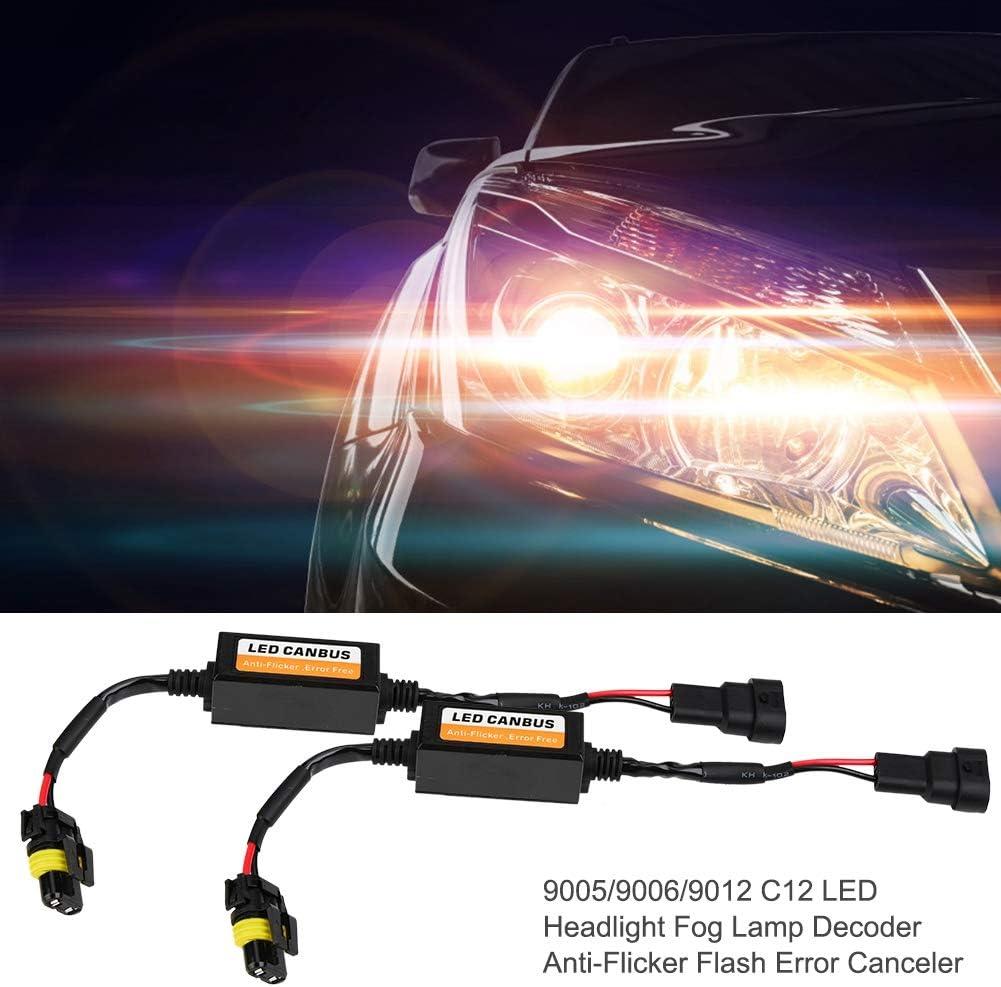 LED Headlight Decoder Black 9005//9006//9012 C12 LED ABS Headlight Fog Lamp Decoder Anti-Flicker Flash Error Canceler