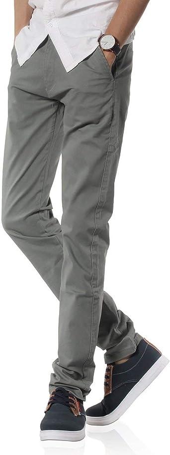 Crystallly Asiento De Los Hombres Pantalones Gris Moda Chino Casual Pantalones Estilo Simple Solidos Pantalones Largos Rectos De Color Solido Amazon Es Ropa Y Accesorios