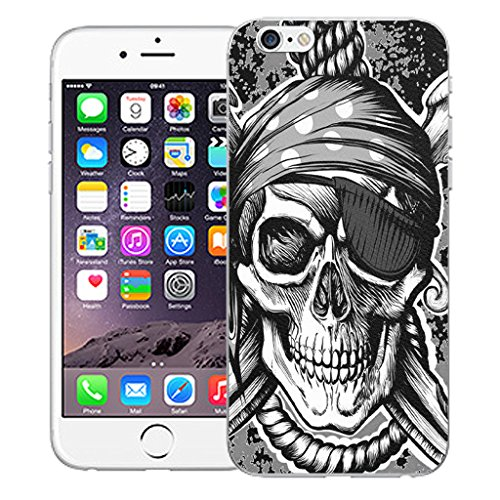 "Mobile Case Mate iPhone 6 Plus 5.5"" Silicone Coque couverture case cover Pare-chocs + STYLET - Black Hanging Skull pattern (SILICON)"
