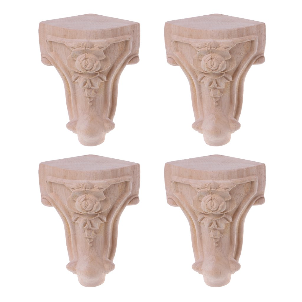 Goodqueen Wooden Furniture Legs Solid Wood Flower Carved TV Cabinet Seat Feet No Painting for