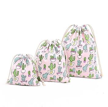 Demarkt Bolsa de Almacenamiento 3PCS Bolsos de Cordón Bolsa de Algodón de Patrón de Cactus Bolsas de té para el Regalo de Dulces Bolsas de Embalaje