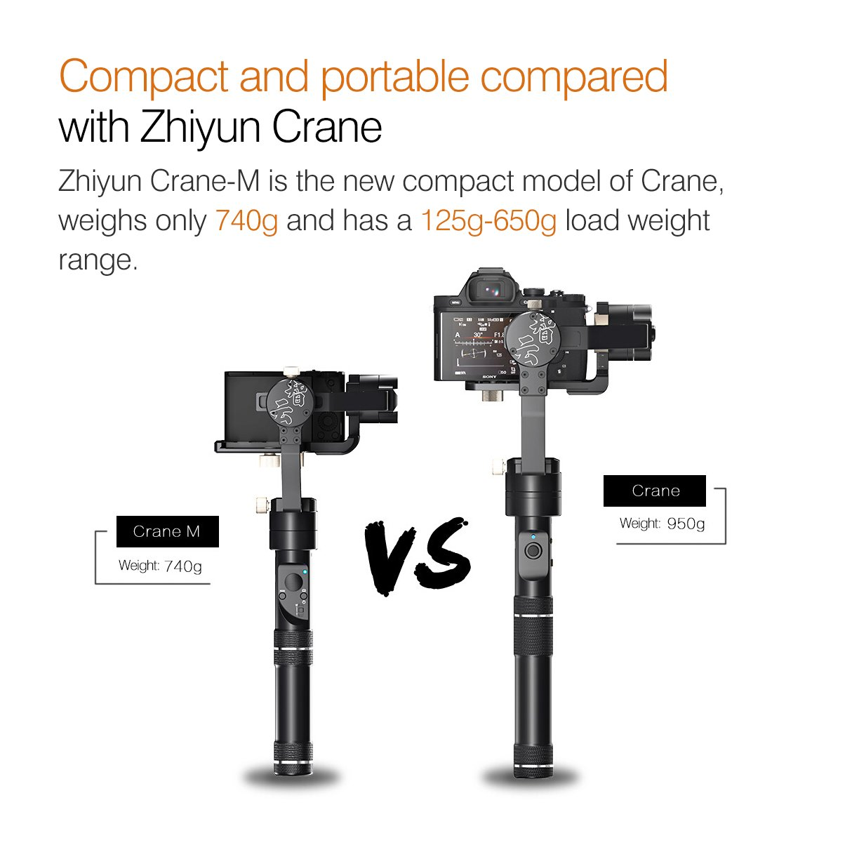 Zhiyun Crane M 3 Axis Brushless Handheld Gimbal Three 32bit Mcus Tripod Pole For 3axis Smooth Q 360 Degree Unlimited Rotation 12 Hours Running Time 125g To 650g Payload