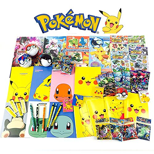 [GIFT WRAP] Pokemon 10 Assorted Toy Sticker Card Pokeball School Supply Stationary Gift Set
