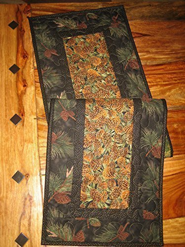 Handmade Reversible Quilted Pine Cones Leaves Table Runner