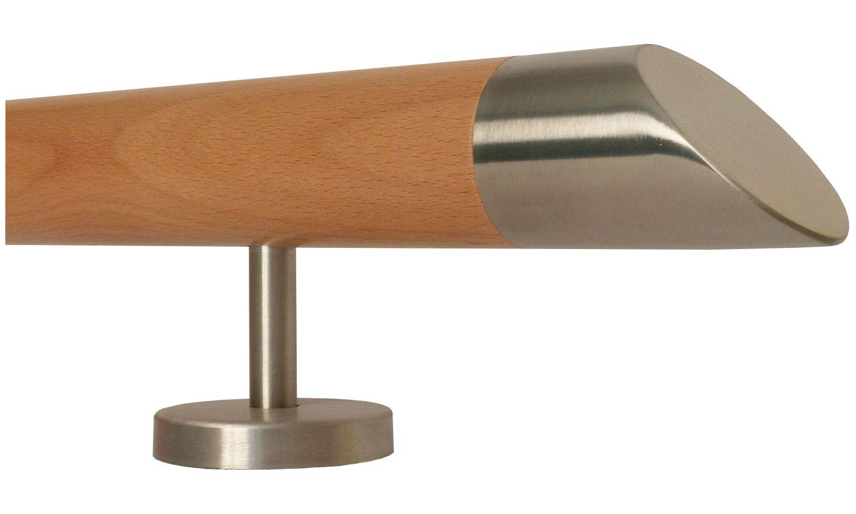 Enden = Halbkugel gefr/äst L/änge 30-500 cm aus einem St/ück//zum Beispiel L/änge 30 cm mit 2 gerade Halter Buche Holz Treppe Handlauf Gel/änder Griff gerade Edelstahlhalter