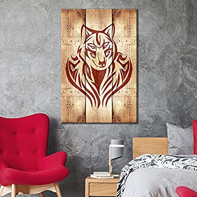 Canvas Wall Art - Wolf Pattern on Vintage Wood Background - Giclee Print Gallery Wrap Modern Home Art Ready to Hang - 12x18 inches