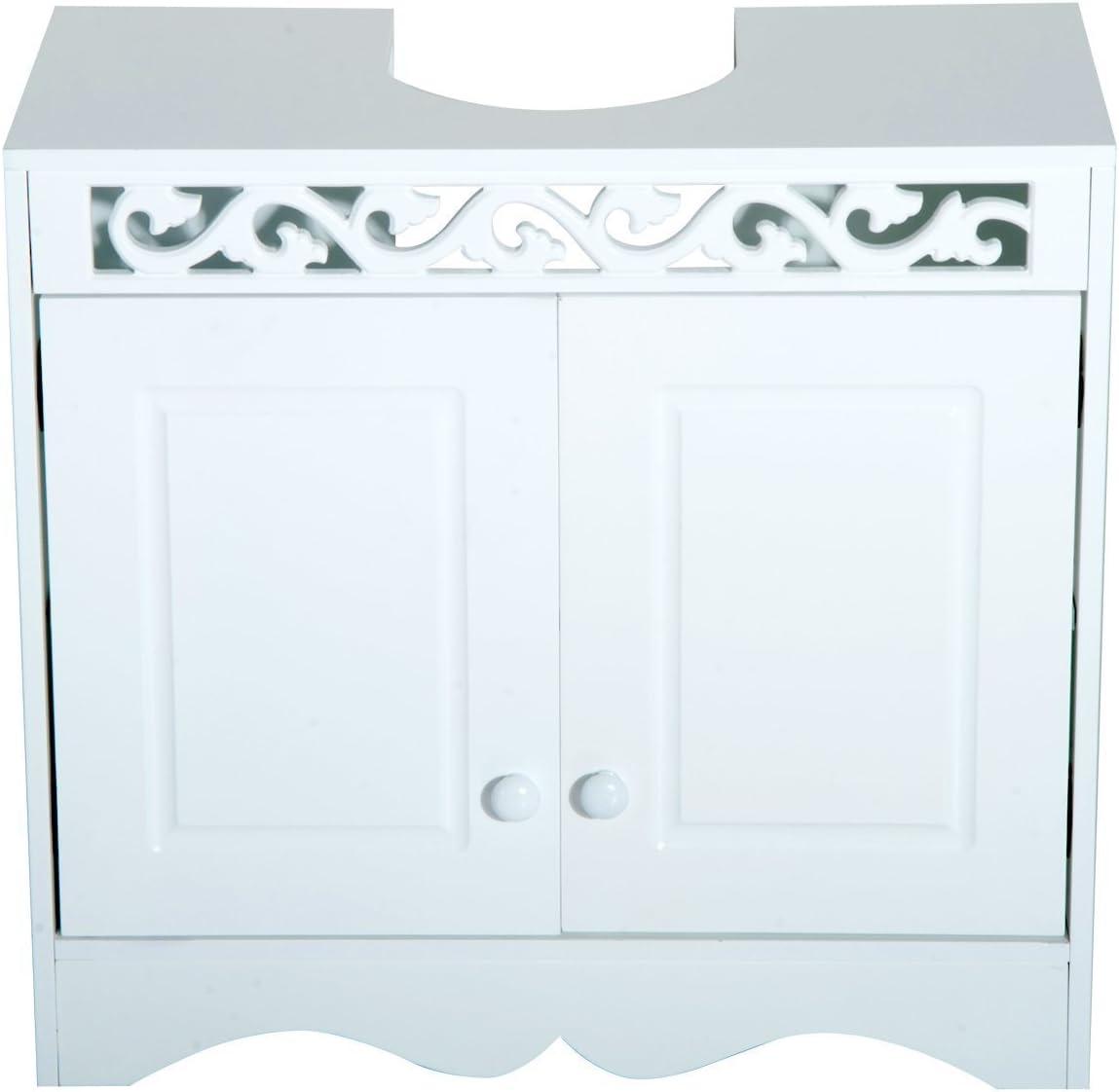 HOMCOM Armario de Baño Tipo Mueble Bajo para Lavabo con 2 Puertas ...