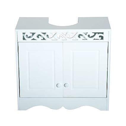 Mueble Bajo Baño   Homcom Armario De Bano Tipo Mueble Bajo Para Lavabo Con 2 Puertas Y