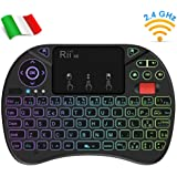 Rii Mini X8 Wireless (layout ITALIANO) - Mini tastiera retroilluminata con mouse touchpad e rotellina di scorrimento (scroll wheel)