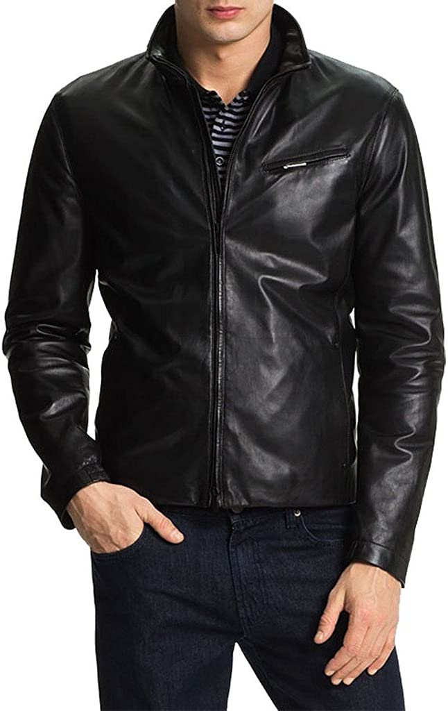 Stylish Men Biker Motorcycle Zipper Slim Fit Cow Leather Casual Jacket KC584