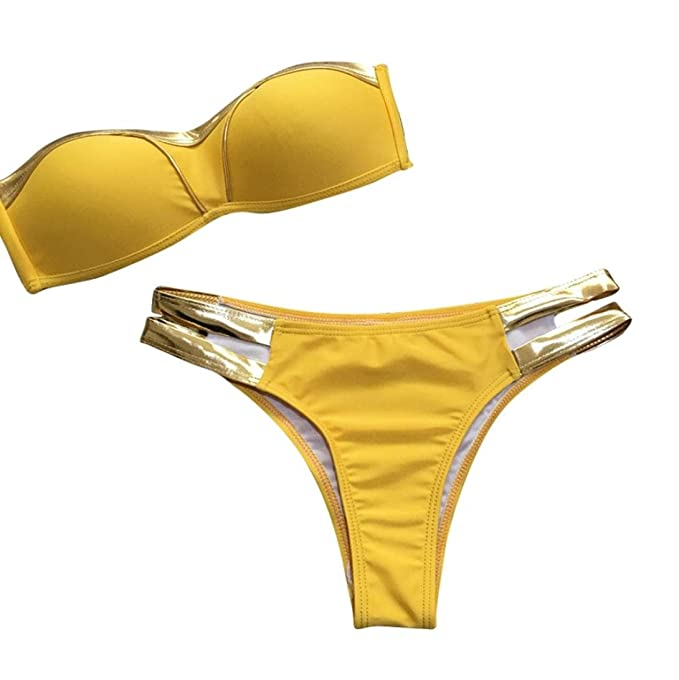 2d631a9b3c6 Yesmile Ropa de Baño Mujer Bikini Deportivo Sexy Traje de Baño Acolchados  de Mujeres Verano Ropa de Playa Bañador Hueco de Dos Piezas Fuera de Hombro  Bikini ...