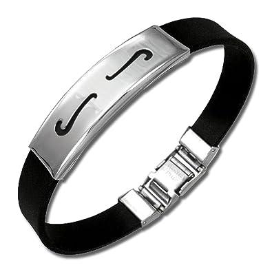 SilberDream amello Bracelet Vague , Homme Femme Bijoux Stainless Steel  Acier Bracelets Bracelet en Caoutchouc esa502s