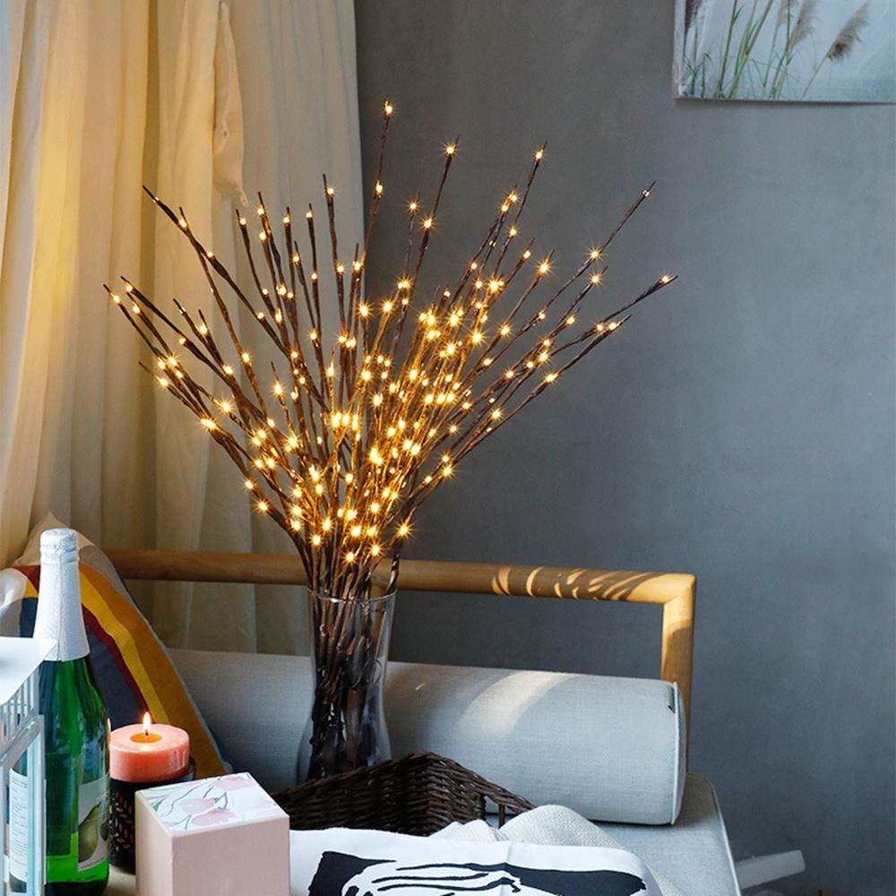 Battery Powered Warm White 1.2W 20LED Brown Tree Branch LED String Light for Christmas Decor DC3V generic