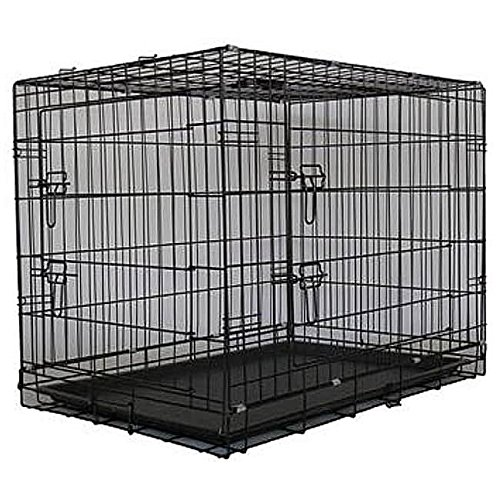 Two Door Folding Metal Dog Crate Size: Small (24″ H x 30″ W x 21.5″ D)
