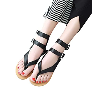 e990cc9b1423 Malbaba Womens Gladiator Strappy Flat Open Toe Lace Up Strap Ankle Wrap  Summer Beach Thongs Sandals