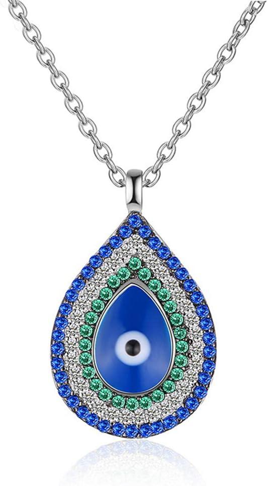 H.L Collar de Piedras Preciosas Color de Plata esterlina 925 Costuras de Diamantes Patrón de Anillo de Gota de Agua Cadena de clavícula Joyería Nacional turca Personalizada para Mujeres,Azul