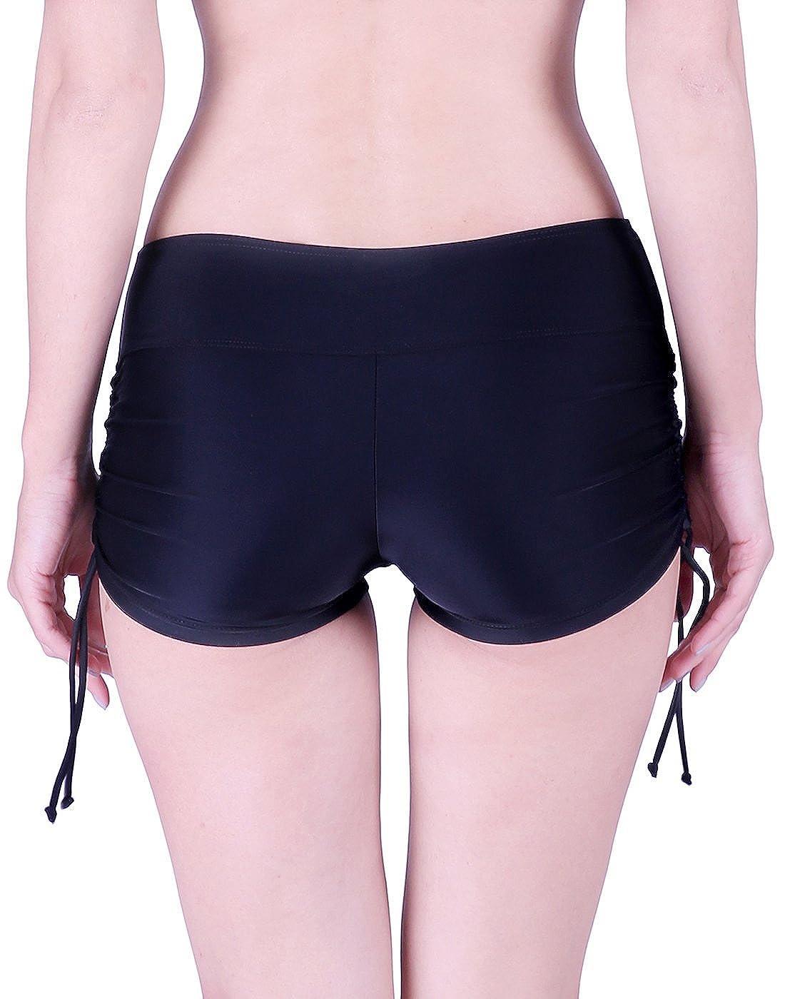 1f0abcb9f79 Amazon.com  HDE Womens Swim Brief with Ties Mini Boy Short Bikini Bottoms  Swimsuit Separates  Clothing
