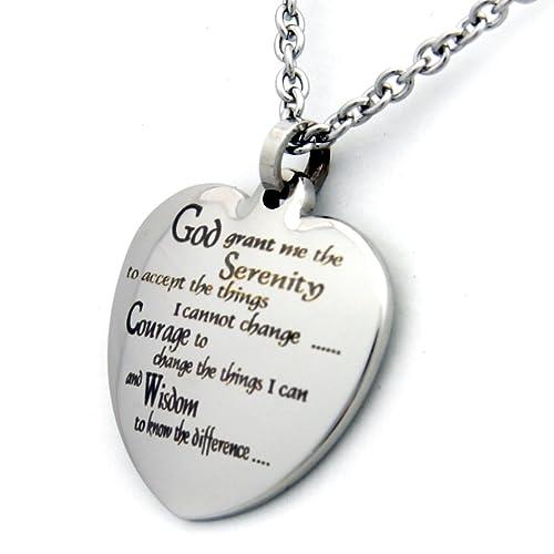 Amazon heart shaped serenity prayer pendant necklace 18 inch heart shaped serenity prayer pendant necklace 18 inch chain 12 step jewelry serenity prayer aloadofball Images