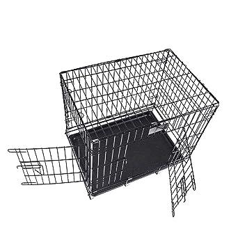 QNMM Portátil Plegable Doble Puerta Caja de Metal para Perros Panel Divisor Perrera para Perros Bandeja de plástico Bandeja de plástico para Cables ...