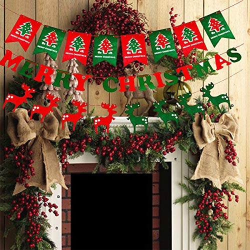 iAmker Christmas Banner Set,Merry Christmas Banner, Christmas Elk Banner and Christmas Flag Banner,Non-Woven Fabrics Merry Christmas Garlands Banner Sign,Christmas Decorations, Xmas Party Decoration