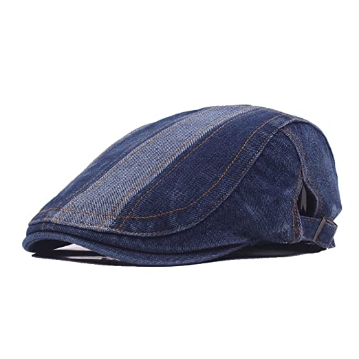 3a3861292660c Denim Flat Cap Gatsby Newsboy Ivy Irish Hats Jean Cabbie Driving Scally  Duckbill Hat