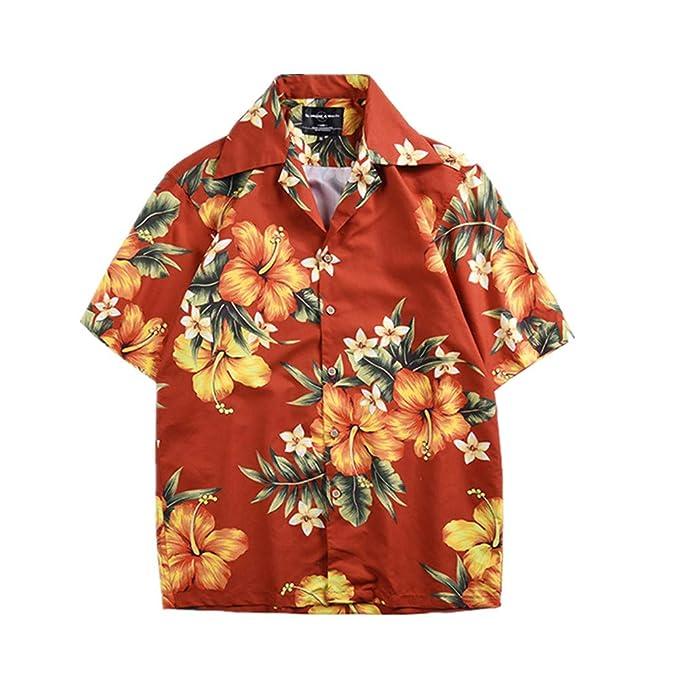 Fansu Camicia Hawaiana Uomo Motivo Estivo con di Palme Funky 3D Stampa Manica Corta Casual Fit Shirt Vari Colori
