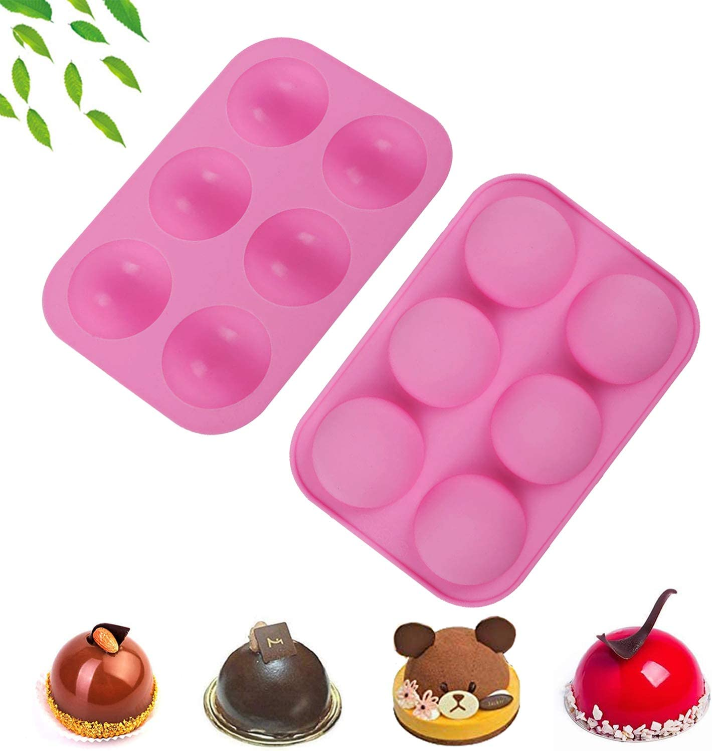 6 Big Holes Red 2PCs Silicone Mold Chocolate Mold for Baking Chocolate Mold DIY Nonstick Cake Mold for Chocolate Bomb,Cup Cake,Muffin,Jelly,Pudding